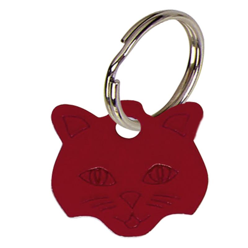 Cat Face Anodised Alum Cat Tag - Red PT009R