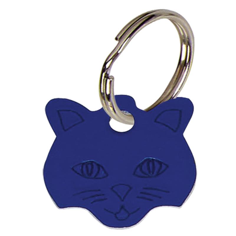 Cat Face Anodised Alum Cat Tag - Blue PT009BL