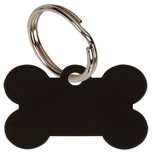 Bone Anodised Alum Dog Tag Large - Black PT011B