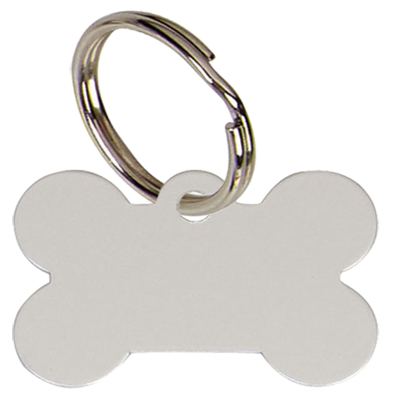 Bone Anodised Alum Dog Tag Large  - Silver PT011S