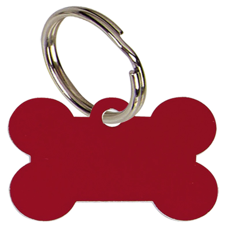 Bone Anodised Alum Dog Tag Large  - Red PT011R