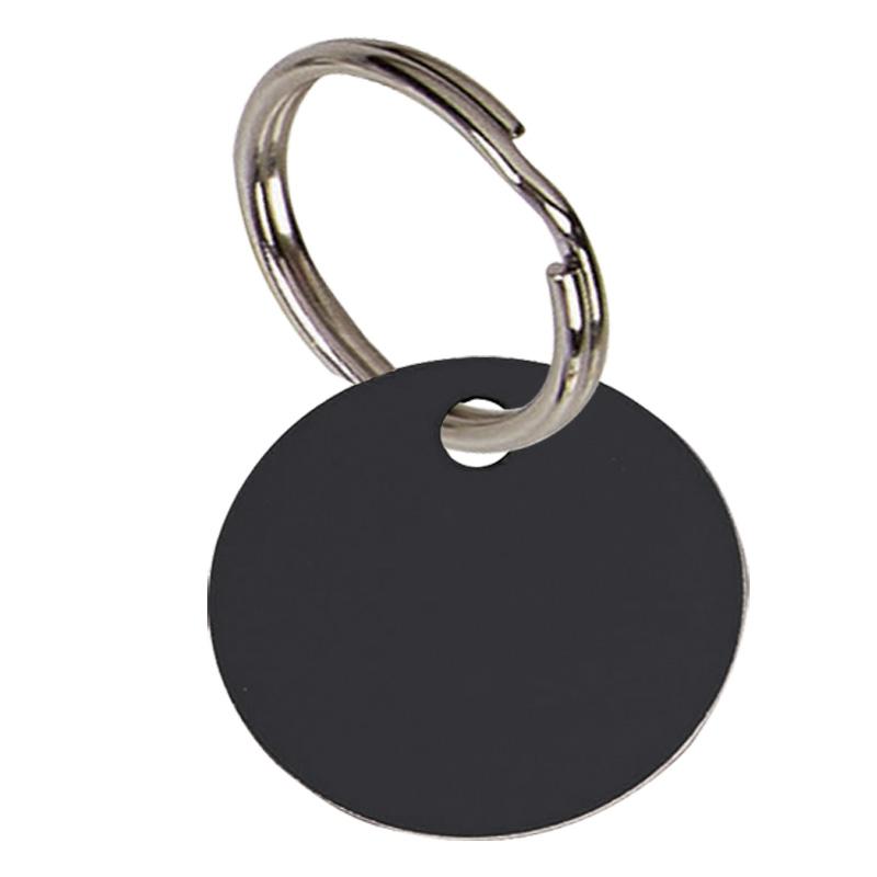 Round Anodised Alum Pet Tag Small - Black PT001B