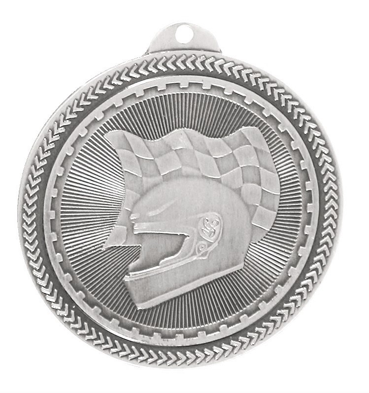 Silver Super Value Motor Racing Medal (size: 50mm) - 63509