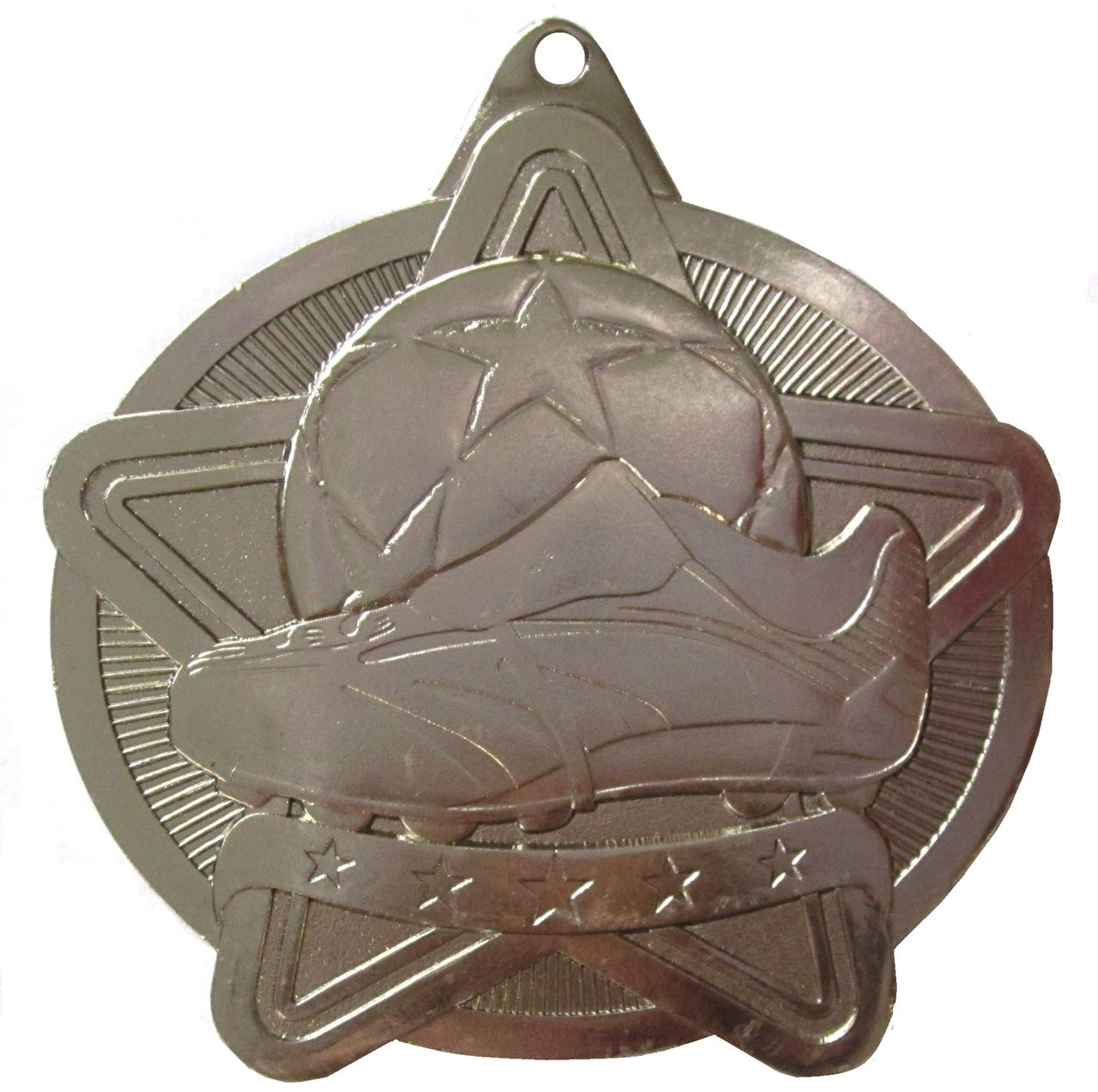 Silver Star Value Football Medal (size: 50mm) - 63571
