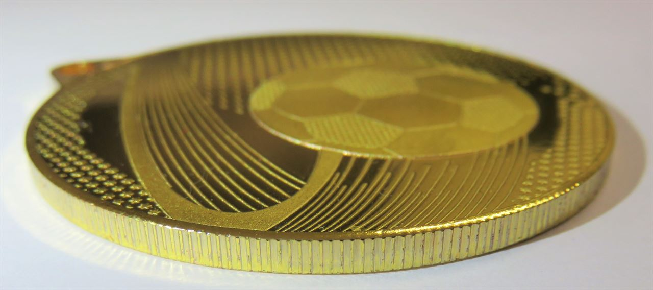 Side view of Coin Edge Football Medal (size: 57mm) - 63859
