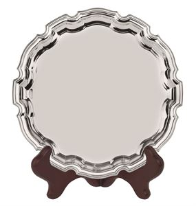 Heavy Gauge Nickel Plated Round Chippendale Tray  - S3