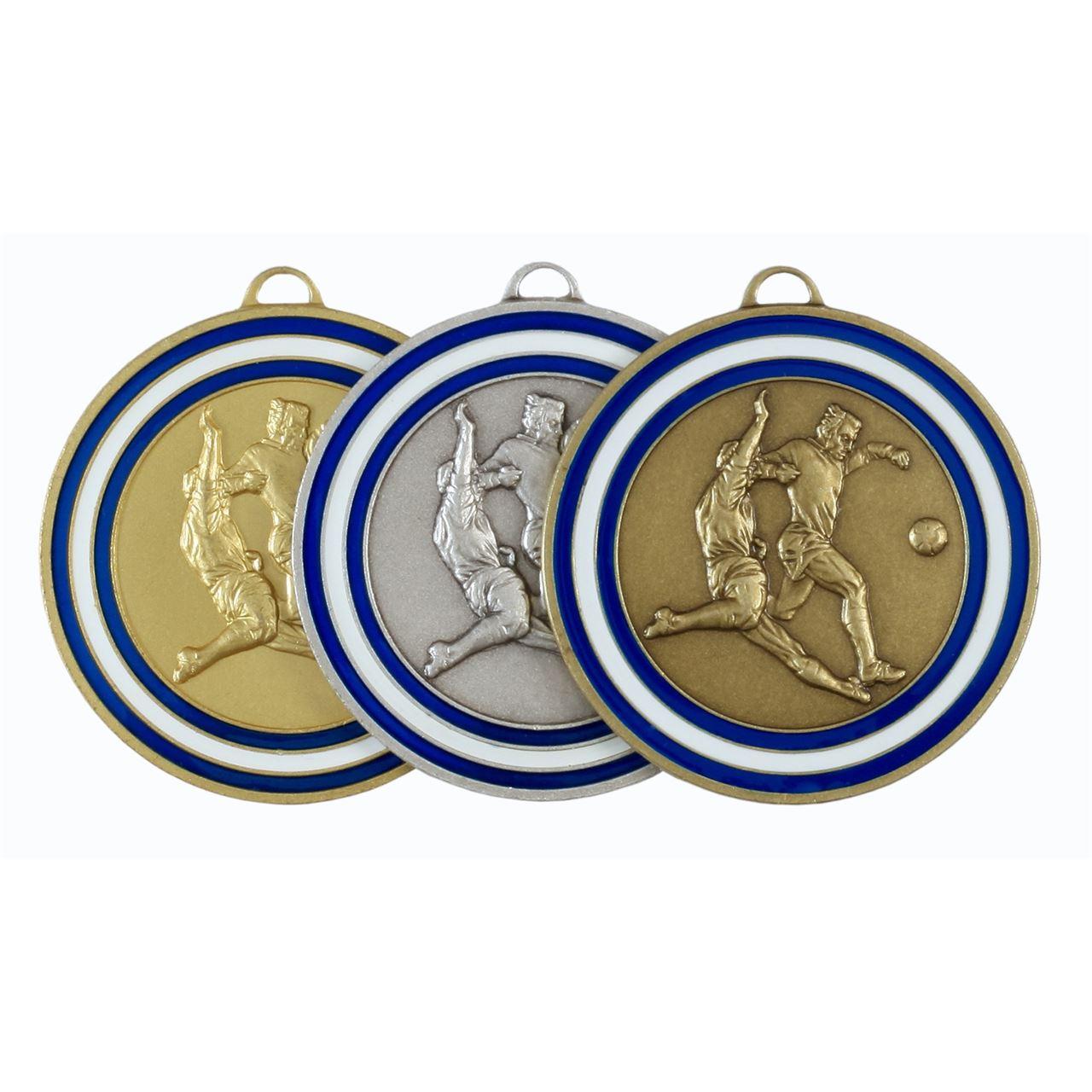 Blue Coloured Enamel Football Medal (size: 50mm) - 175