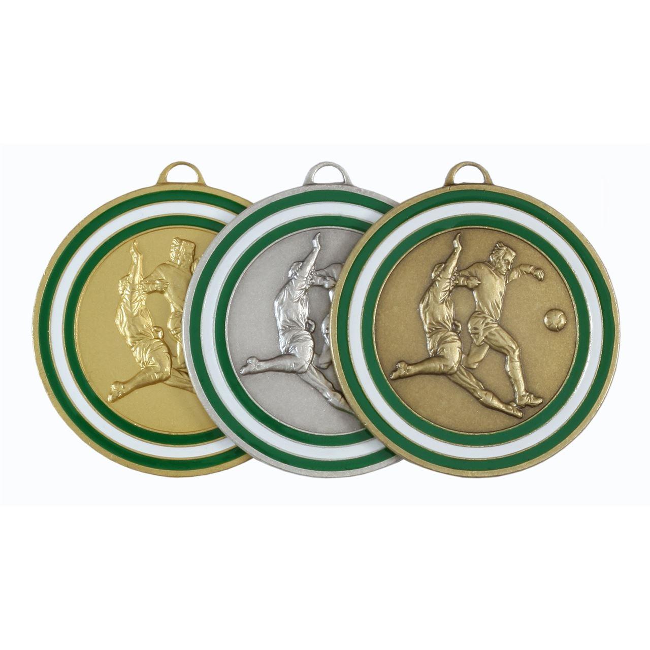 Green Coloured Enamel Football Medal (size: 50mm) - 175