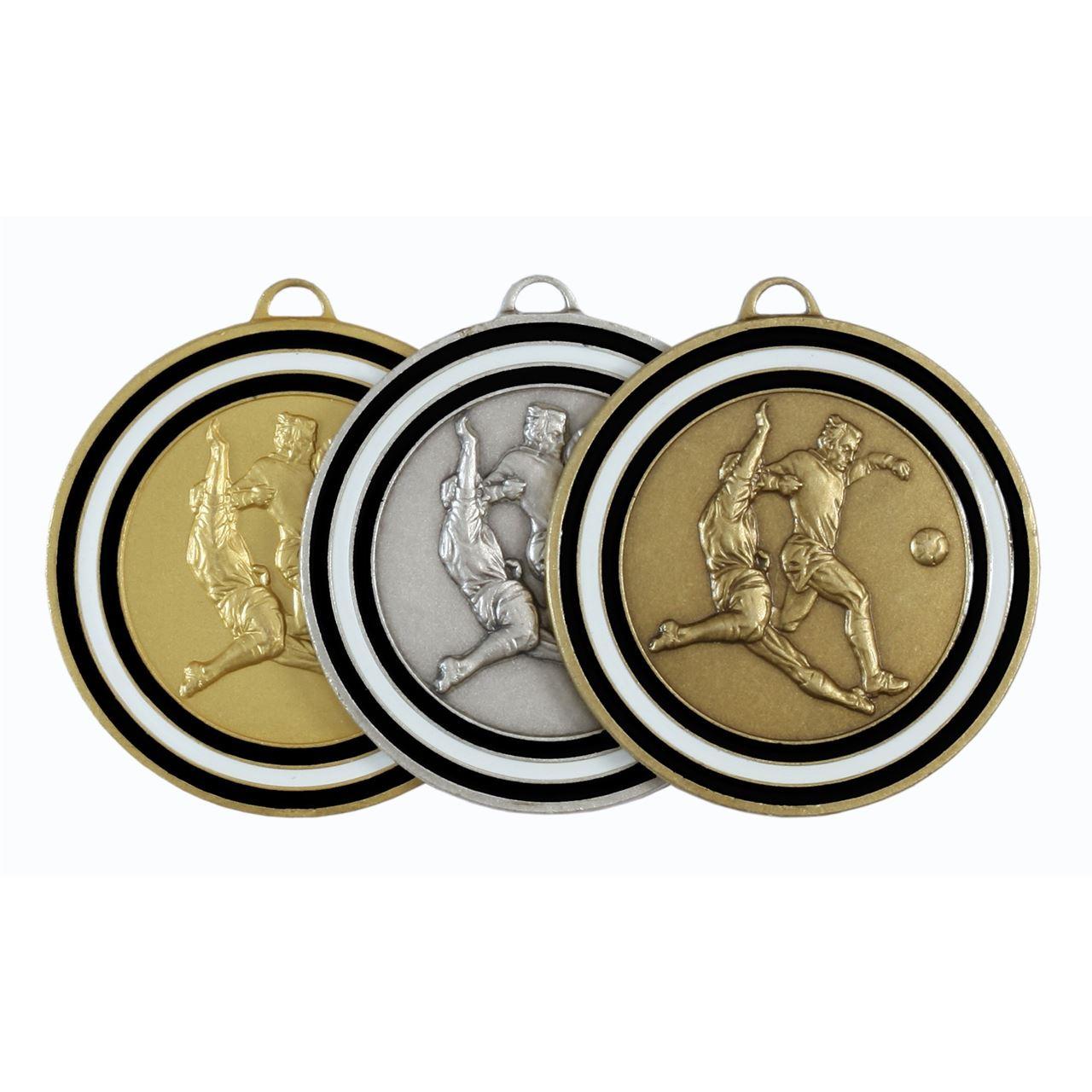 Black Coloured Enamel Football Medal (size: 50mm) - 175