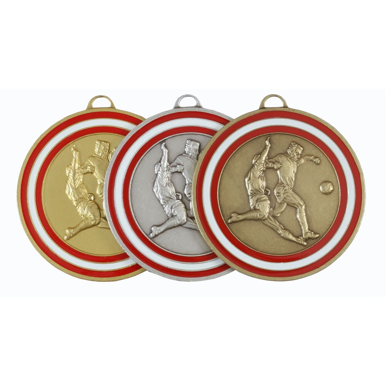 Red Coloured Enamel Football Medal (size: 50mm) - 175