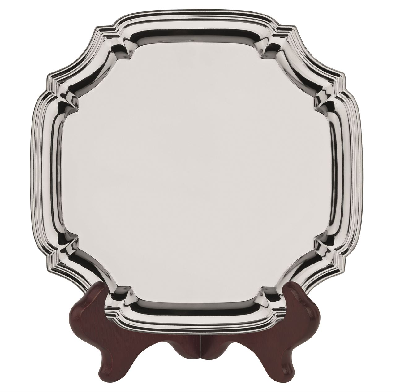 Heavy Gauge Nickel Plated Square Chippendale Tray  - S7