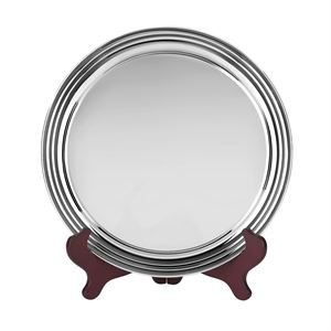 Heavy Gauge Nickel Plated Round Tray With Plain Edge - S8