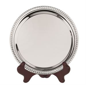 Heavy Gauge Nickel Plated Round Tray With Gadroon Edge - S6