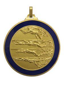 Gold Blue Enamelled Swimming Medal (size: 52mm) - 244BL