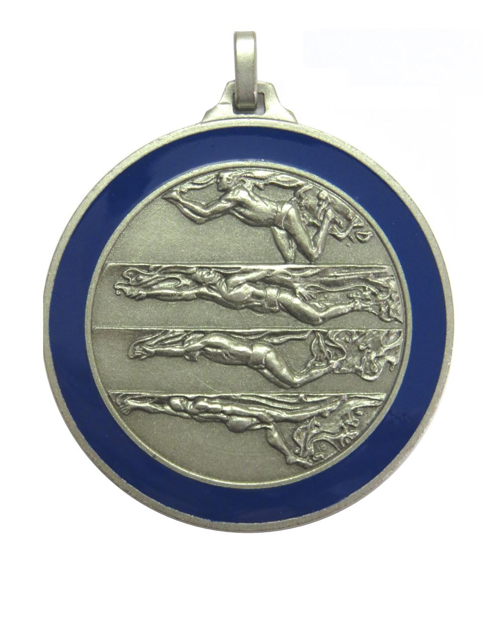 Silver Blue Enamelled Swimming Medal (size: 52mm) - 244BL