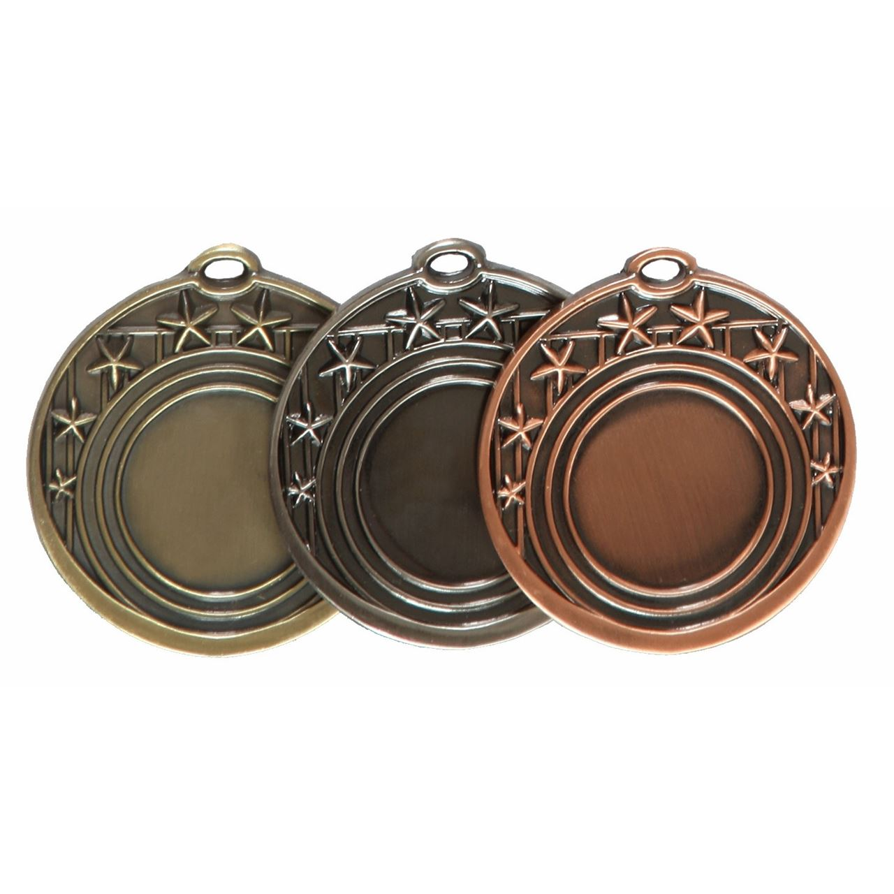 Gold, Silver and Copper Star Design Medal (size: 50mm)- D4AL