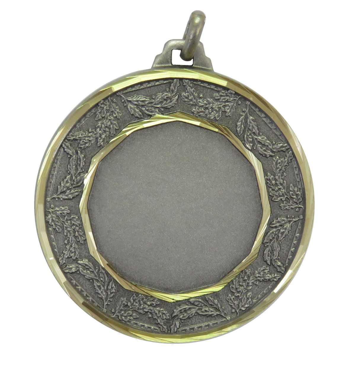 Silver Faceted Classic Laurel Medal (size: 42mm) - 5515F