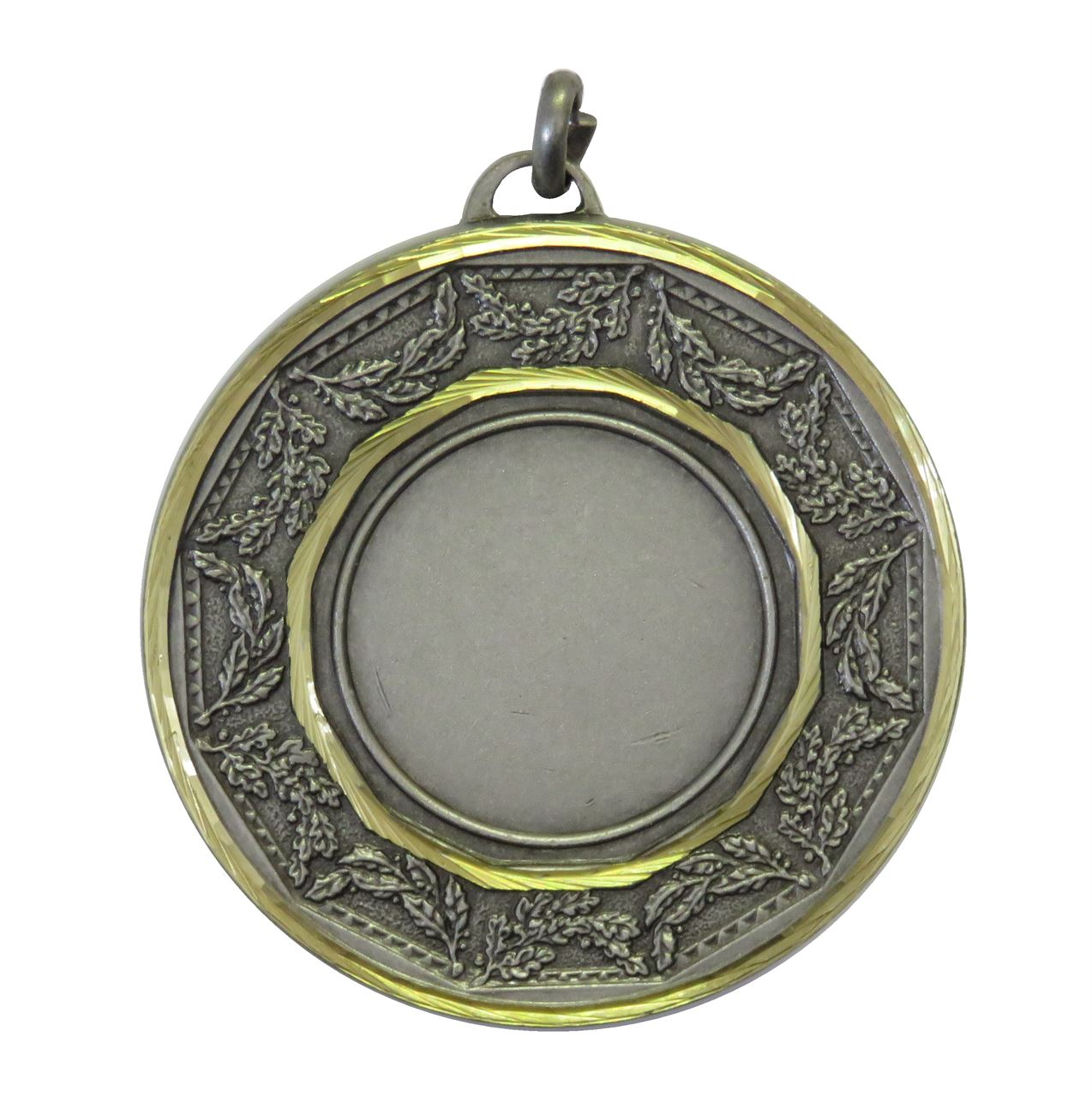 Silver Faceted Classic Laurel Medal (size: 50mm) - 5515F