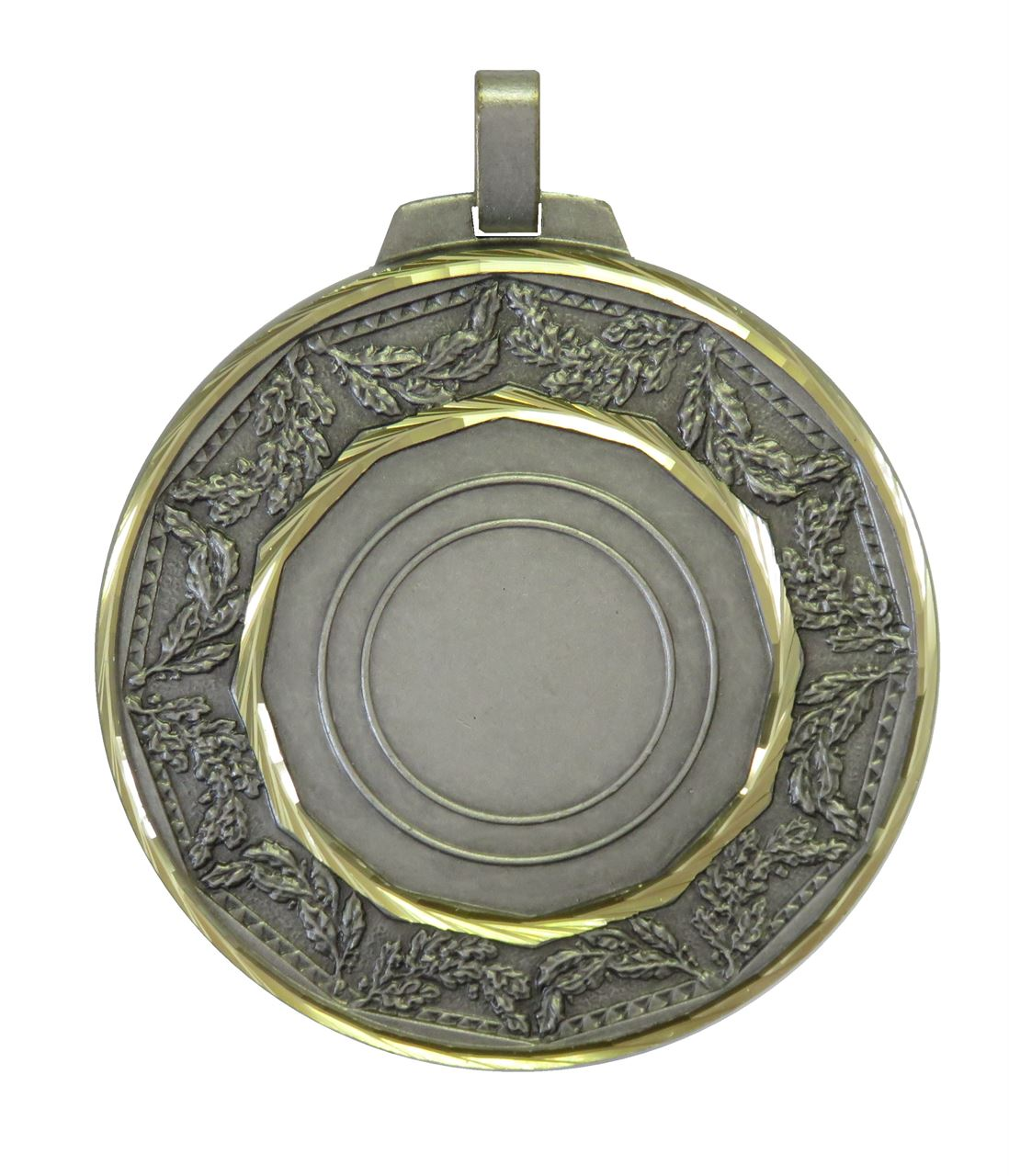 Silver Faceted Classic Laurel Medal (size: 70mm) - 5515F