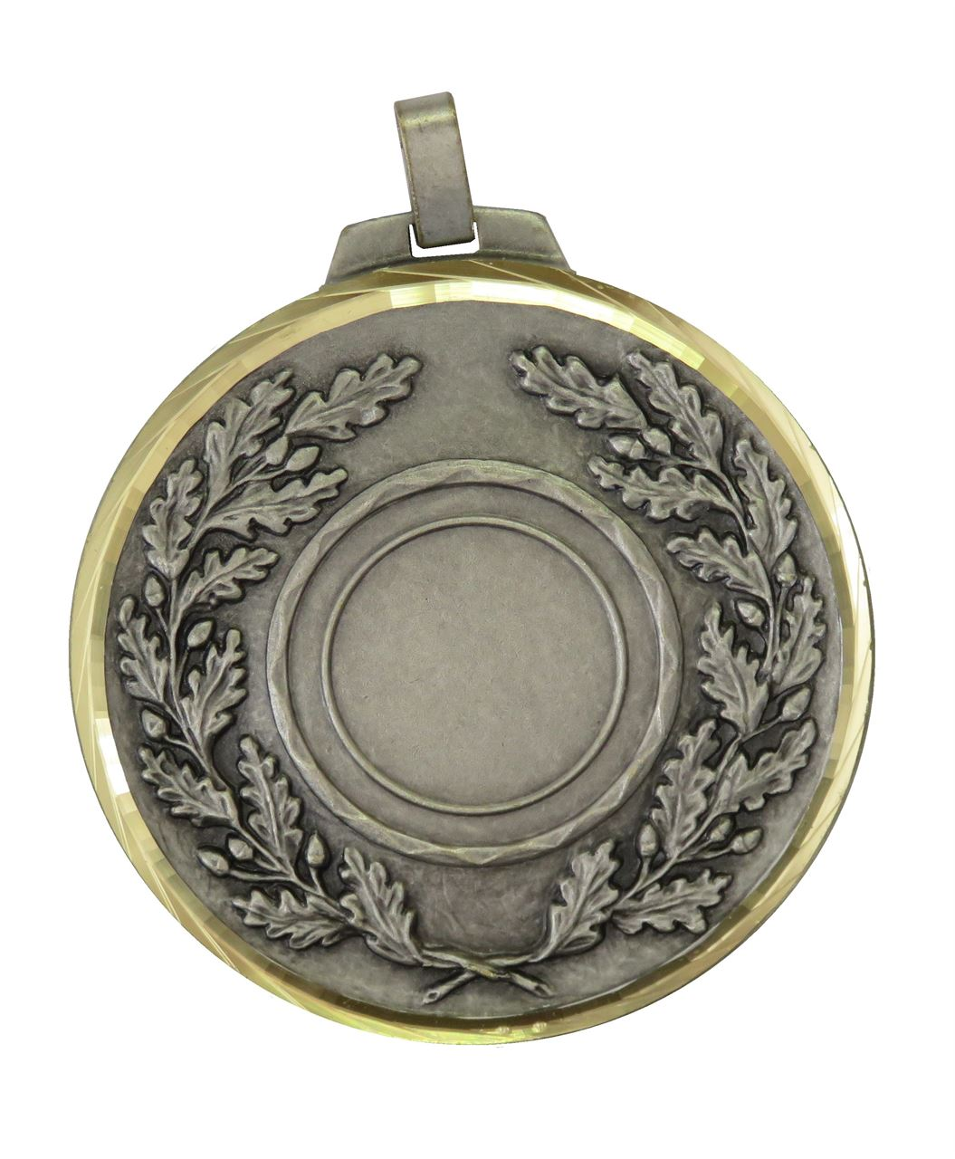 Silver Faceted Classic Wreath Holder Medal (size: 70mm) - 5595F