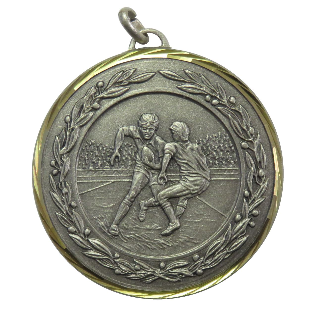 Silver Premium Classic Rugby Medal (size: 50mm) - 4281F