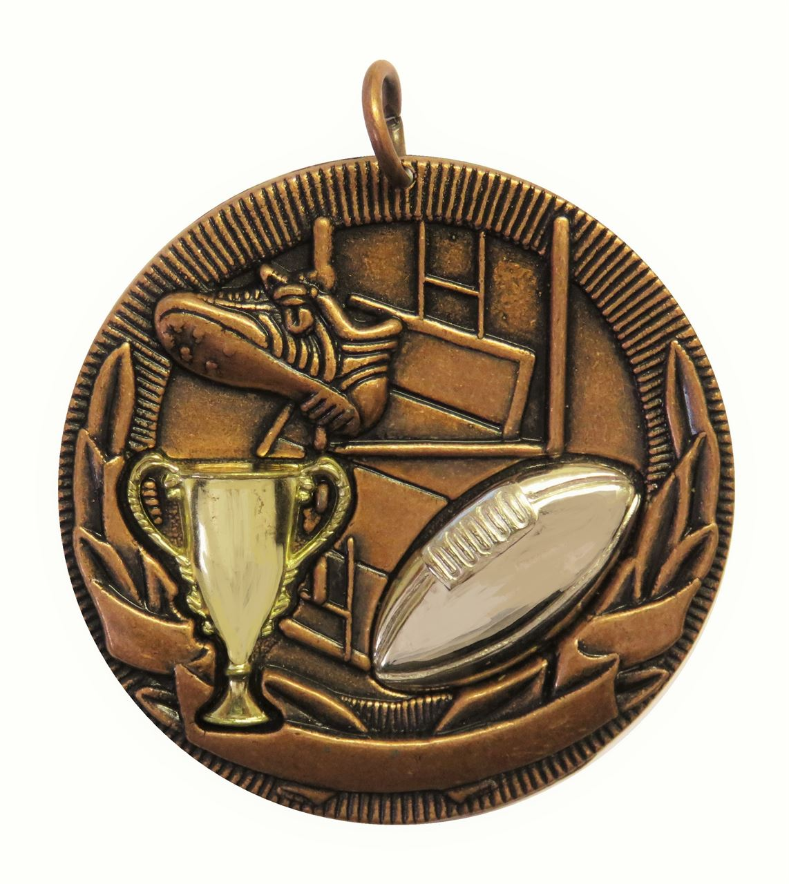 Copper Cup Design Rugby Medal (size: 50mm) - D3RG