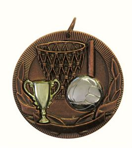 Copper Cup Design Netball Medal (size: 50mm) - D3NB