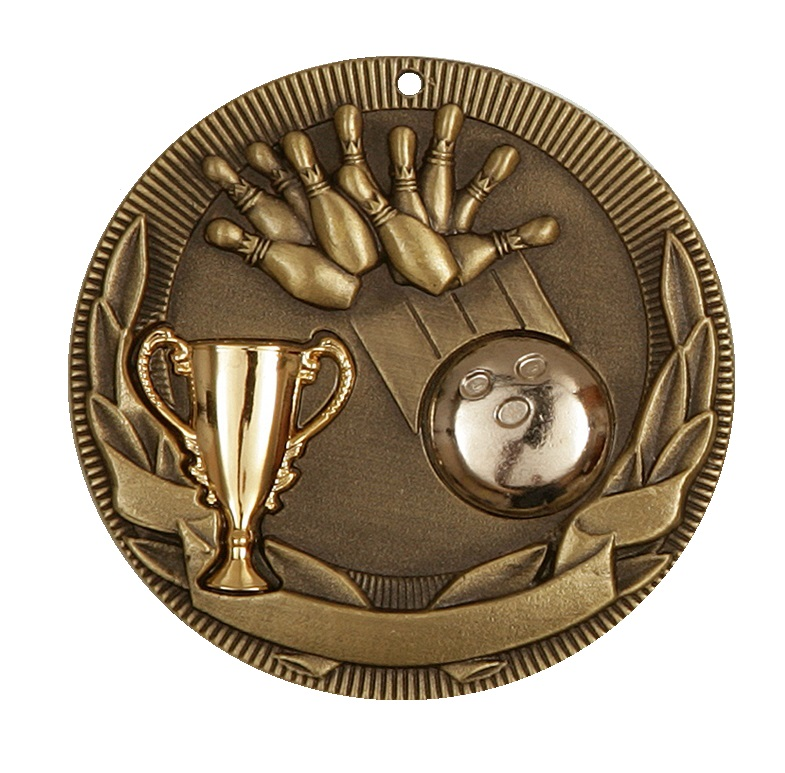 Gold Cup Design Ten Pin Bowling Medal (size: 50mm) - D3TP