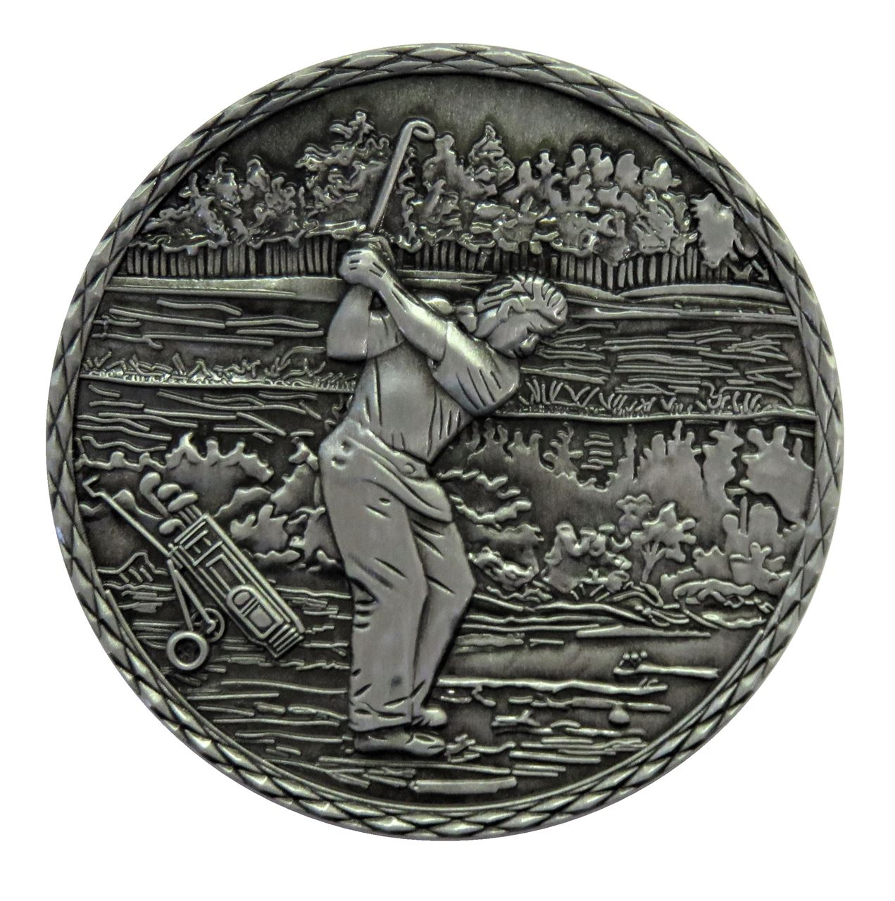 Silver Quality Golf 2 Medal (size: 60mm) - Golf2 Alloy