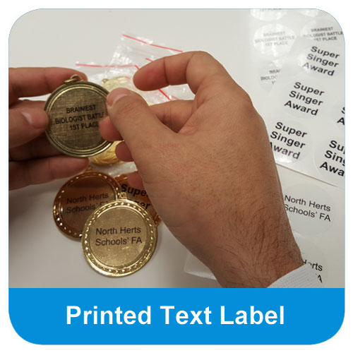 Self adhesive printed text label