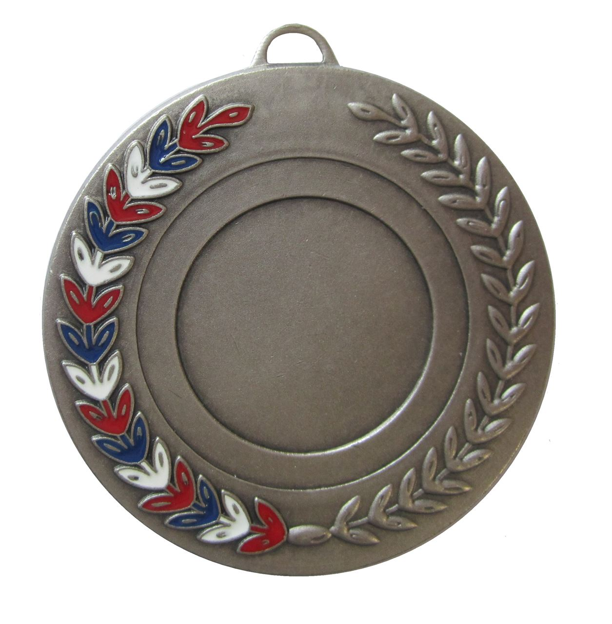 Silver Red, White & Blue Enamel Laurel Medal (size: 50mm) - 5770