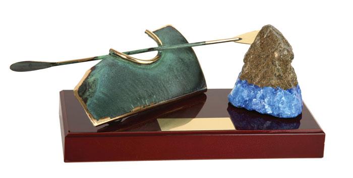 Canoe and Rock Handmade Metal Trophy - 839