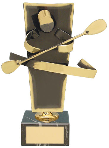 Canoeing Upright Handmade Metal Trophy - 104