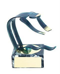 Diving Blue Figure Handmade Metal Trophy - 600