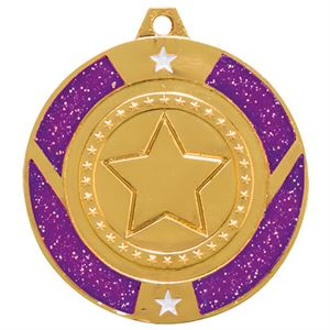 Gold Glitter Star Purple Medal - MM17146G