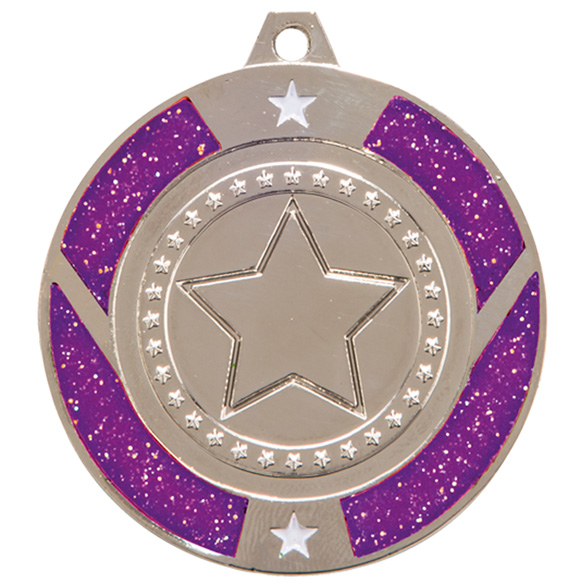 Silver Glitter Star Purple Medal  - MM17146S