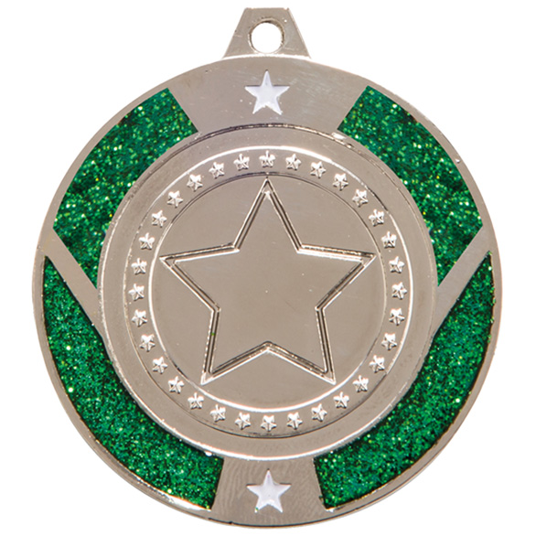 Silver Glitter Star Green Medal - MM17147S