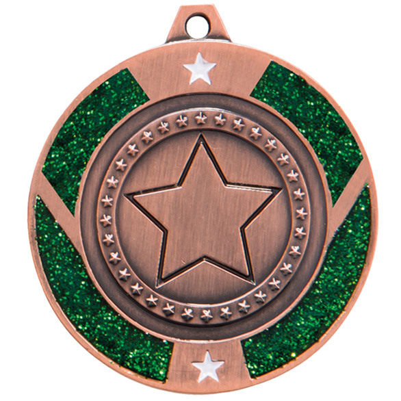 Bronze Glitter Star Green Medal - MM17147B