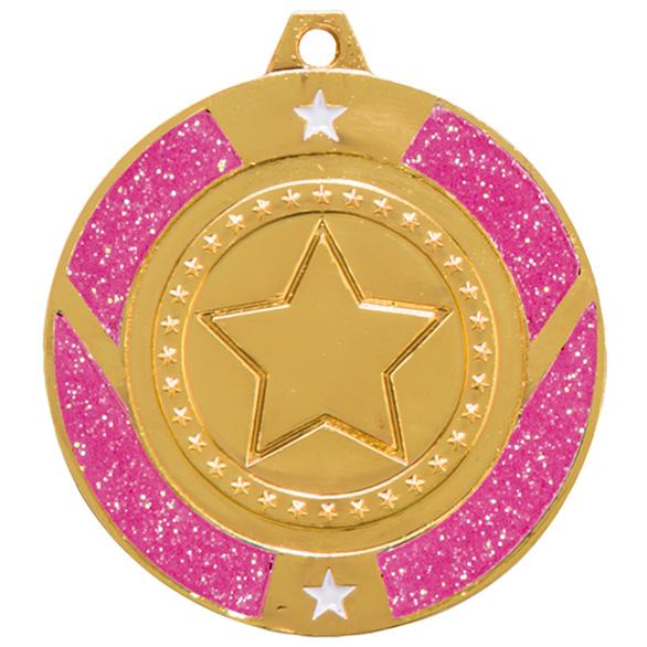 Gold Glitter Star Pink Medal - MM17148G