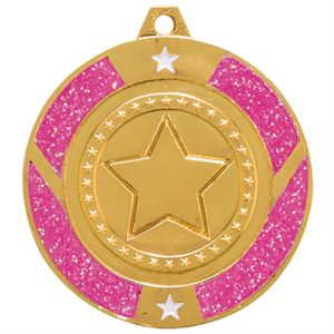 Gold Glitter Star Pink Medal - MM17148G