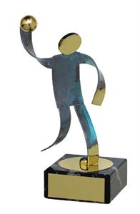 Handball Blue Figure Handmade Metal Trophy - 600 BN