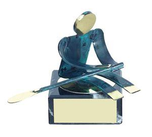 Rowing Blue Figure Handmade Metal Trophy - 600 RE