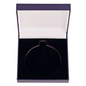 Classic Blue Leatherette Medal Box (size: takes 50mm, 60mm or 70mm medal) - MB0322