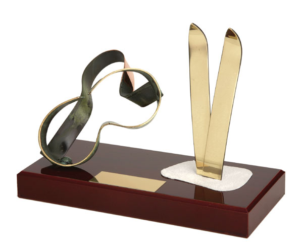 Skis and Goggles Handmade Metal Trophy - 788