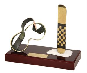 Snowboard and Goggles Handmade Metal Trophy