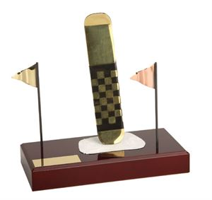 Snowboard and Flags Handmade Metal Trophy - 797