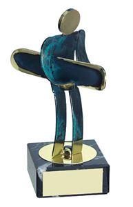 Snowboarding Blue Figure Handmade Metal Trophy - 600 SW