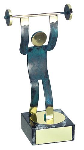 Weightlifting Blue Figure Handmade Metal Trophy - 600 HA