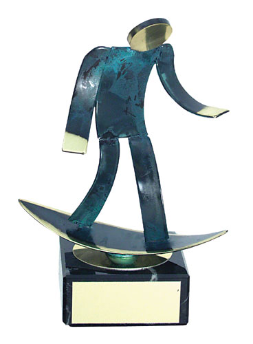 Surfing Blue Figure Handmade Metal Trophy - 600 SF