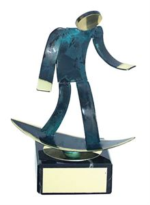 Surfing Blue Figure Handmade Metal Trophy